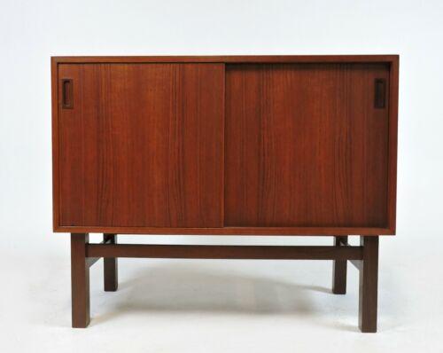 Danish Modern Small Teak and Rosewood Sliding Door Credenza Cabinet 1960s