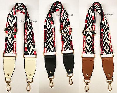 Wide Adjustable Fashion Handbag Shoulder Strap w/ Leather Ends Cotton Webbing