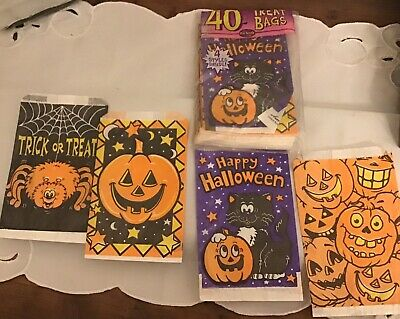 Vintage HALLOWEEN Happy Halloween Trick Or Treat Bags Sealed/ 40 Bags 4 Styles