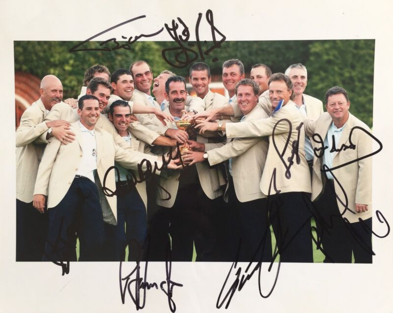 Ryder Cup 2002 signed by 9 European Players 10x8 photo UACC RACC Trusted AFTAL