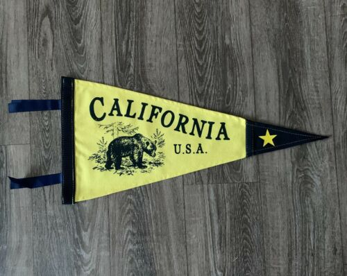 "New California USA Pennant, Canvas, Flag, Banner, Wall Decor 10"" x 20.5"" Yellow"