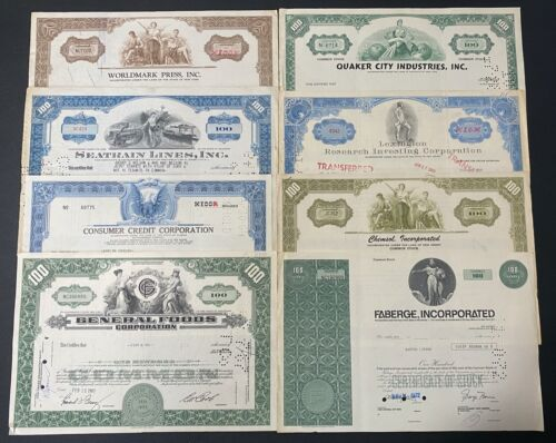 Lot of 8 Stock Certificates  See list, beautiful engraving (NICE)