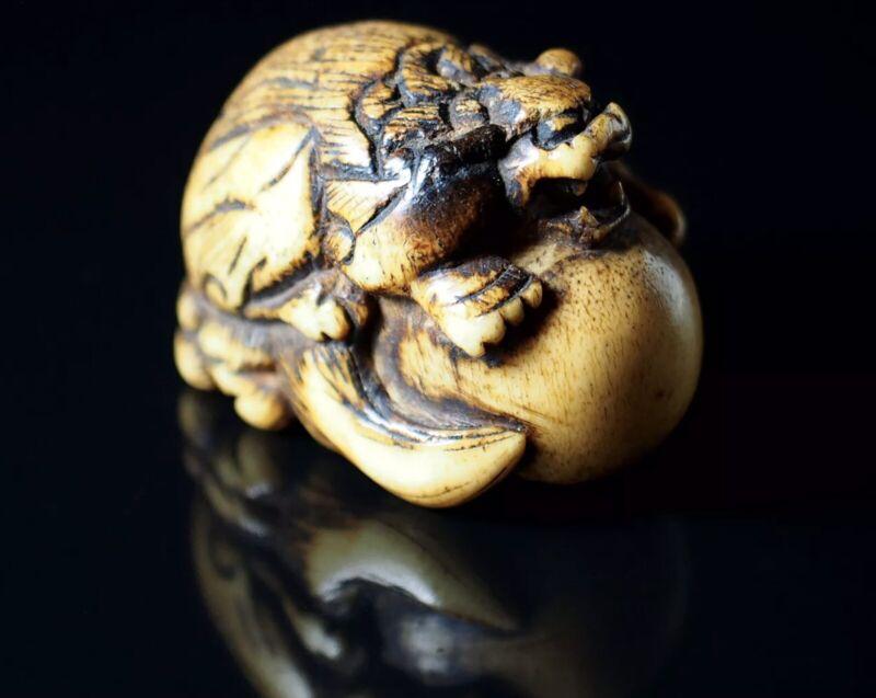 Shishi The Lion-Dog Netsuke - Staghorn Sculpture
