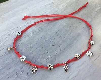7 Knots *LUCKY BRACELET  Handmade Silver 925 Red STRING KABBALAH