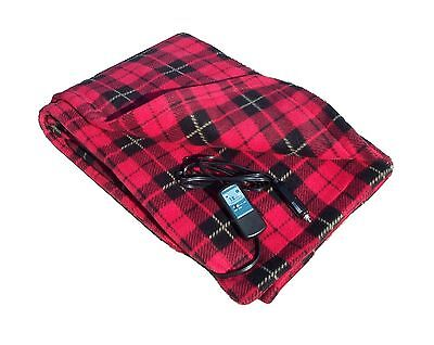 Heated Fleece Travel Electric Blanket - 12 Volt - Red Plaid Free Shipping