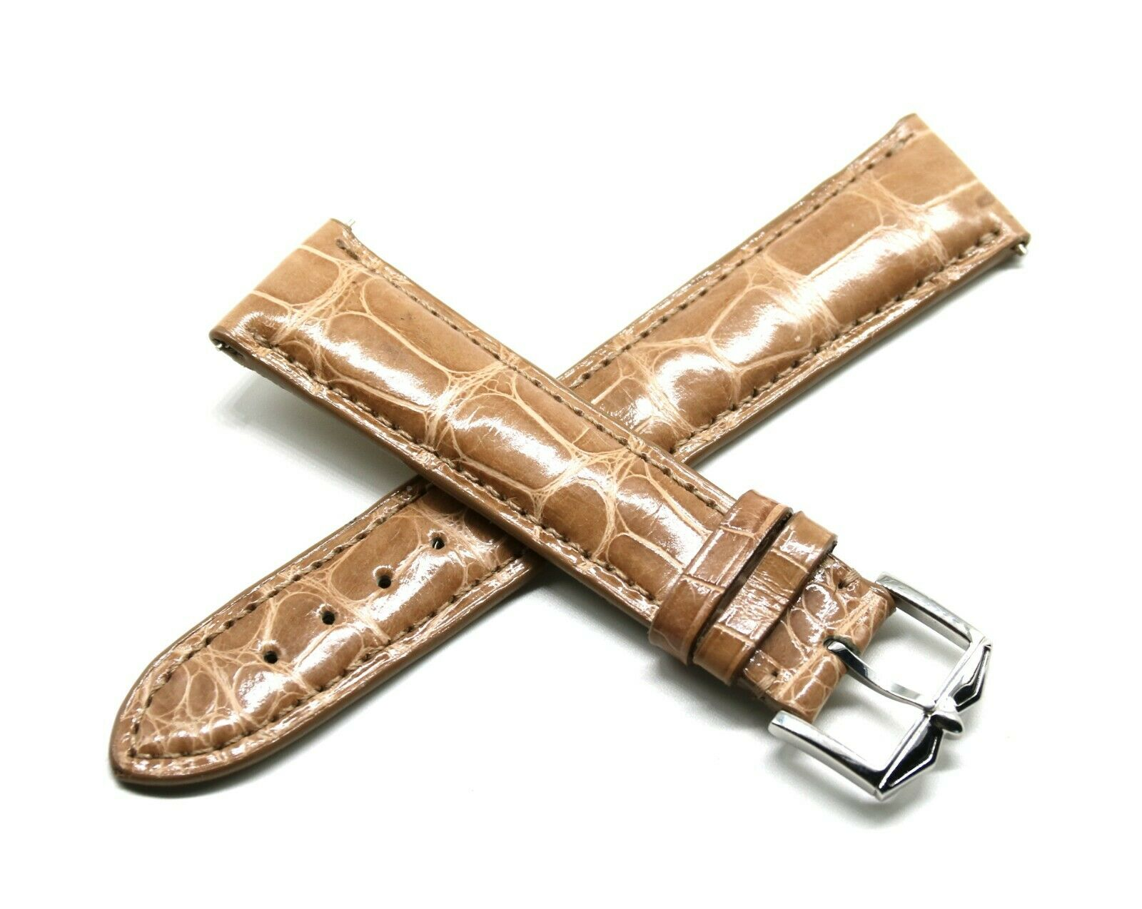 Rotary 21 mm Echt Alligatorenleder Uhrband Hellbraun