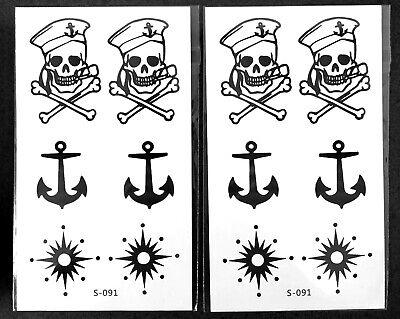 Bulk Halloween Temporary Tattoos (2-PACK Sailor Pirate Temporary Tattoo Skull & Anchor Slutty Pirate Halloween)