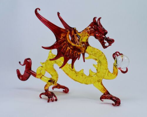 Dragon Yellow and Red Figurine of Blown Glass Crystal