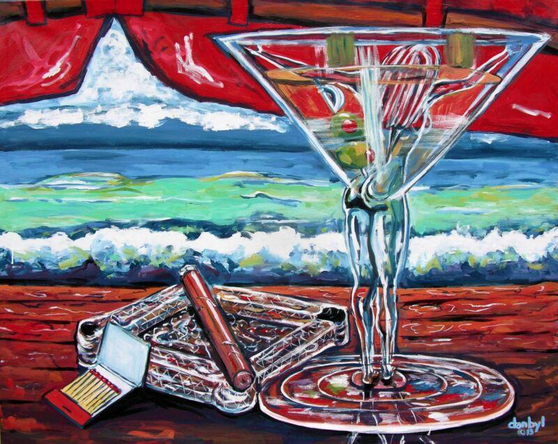 Cohiba Cigar Martini Beach Original Art Painting Dan Byl Contemporary Huge 4x5ft