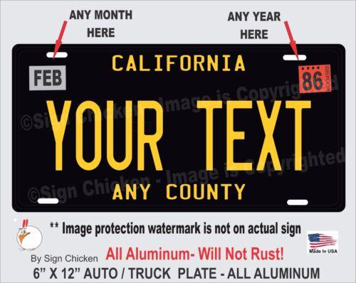 California Black YOUR TEXT  Personalized Custom  Aluminum License Plate AUTO