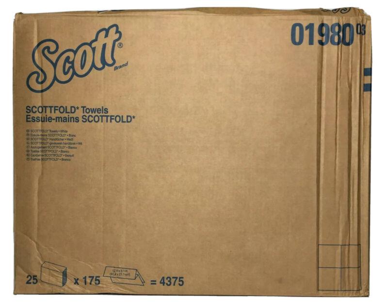 "Scott Paper Towels, White, 12.4"" x 9.4"", 175/PK,  25/Case, 01980"