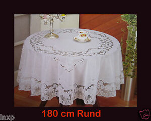 180 cm ø ROUND White TABLECLOTH Round SHEET with Floral motif Vinyl
