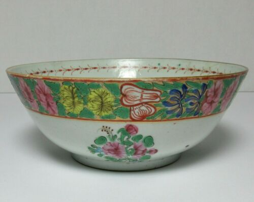 Antique CHINESE Export PORCELAIN FAMILLE ROSE VERTE BOWL 18th Century