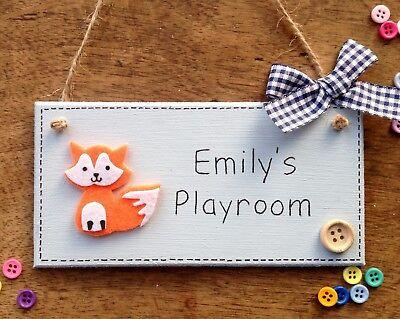 Personalised FOX Name Plaque Door Nursery Sign Gift Baby Play Room Boy Girl ⭐