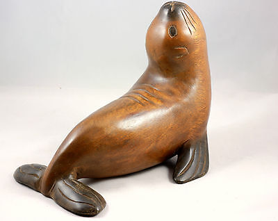 """Wooden Sea Lion Ornament 11"""" Handmade Vintage Style Acacia Wood Carving"""