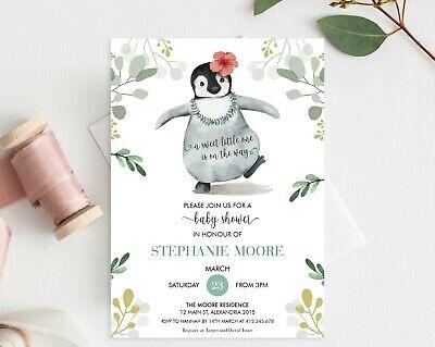 Penguin Baby Shower Invitation Personalised Boy Girl Sprinkle Shower YOU PRINT