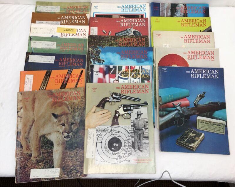 Lot of 28 Vintage 1972, 1973, 1974, 1975 AMERICAN RIFLEMAN Gun Magazines  (A9)