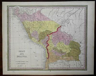 Peru & Bolivia Lima La Paz Andes Mountains Amazon River 1846 Mitchell map