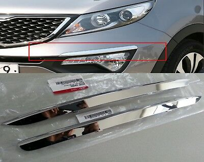 Chrome Silver Front Bumper Garnish Molding LH RH 2PCS For KIA Sportage 2011-2016
