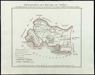 1802 - Map Old Department of Hoods Du Rhone of Chanlaire.