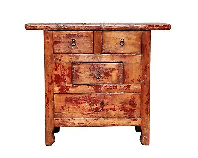 Купить Chinese Rustic Lacquer Wood Side Drawer Cabinet s035s