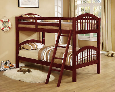 Cherry Wood Finish Bed - Cherry Finish Wood Arched Design Twin Size Convertible Bunk Bed (Bunkbed) ~New~