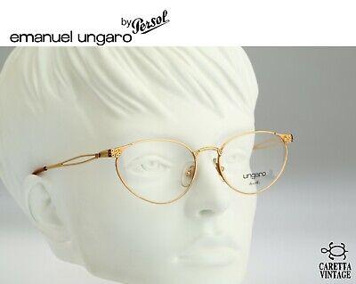 Emanuel Ungaro BY Persol U598 - 90s gold cat eye eyeglasses optical frame / (Large Cat Eye Optical Frames)