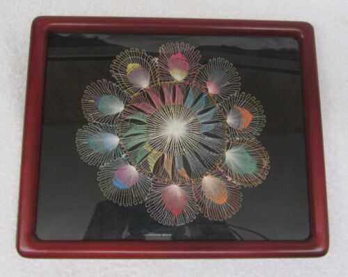 Antique Lace Doily HAND MADE FRAMED w/ Glass Peacock Multi Colors Delicate