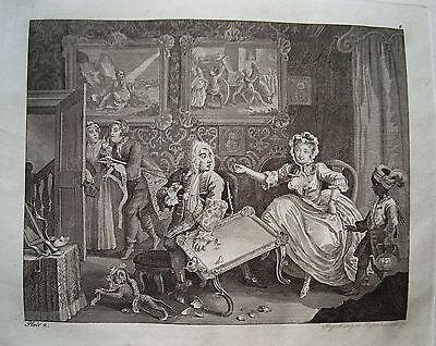 William Hogarth Werdegang der Dirne 2 Sex  Prostituierte alter Kupferstich 1800