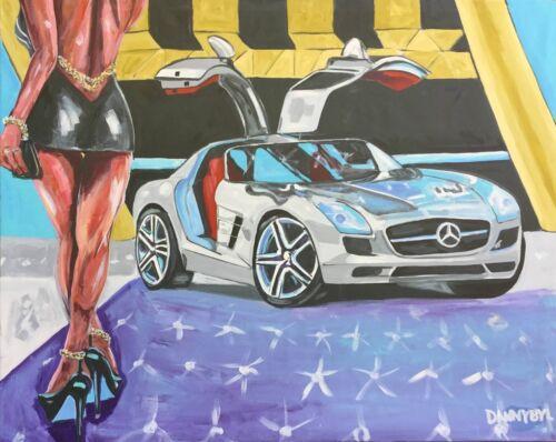 Mercedes Gullwing Car Original Art Painting Artist Dan Byl Acrylic Huge 4x5 Feet