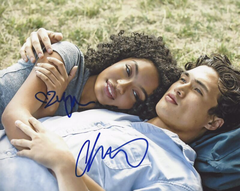 Charles Melton Yara Shahidi Signed 8x10 Photo The Sun Is Also A Star +PROOF #1