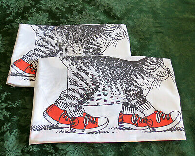 Pair of Vintage KLIBAN CAT with RED SNEAKERS Large Pillowcases