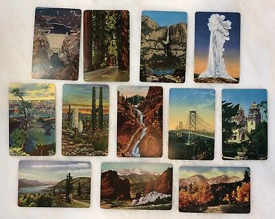 12 SWAP CARD Mountain REDWOODS Old Faithful DESERT Blank Back Nt Playing VINTAGE