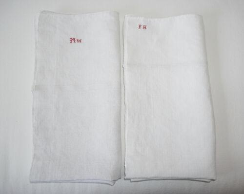 Two Antique Vintage French Linen Towels Monogram