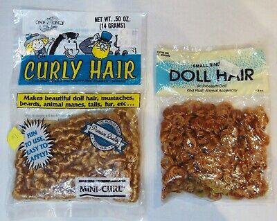 Brown Curls (Lot 2 Mini Curls Doll Hair DIY Doll Making Supplies Strawberry Blonde Lt)