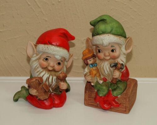 Vintage Christmas Homco Set of 2 ELVES  Elf Toy Makers Porcelain Figurines 5406