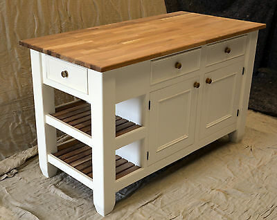 Kitchen island handmade solid wood painted