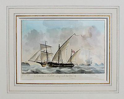 JOSEPH SIPKES - ORIGINAL Aquarell SIGNIERT 1832 Mistico Mistique Segelboot ship