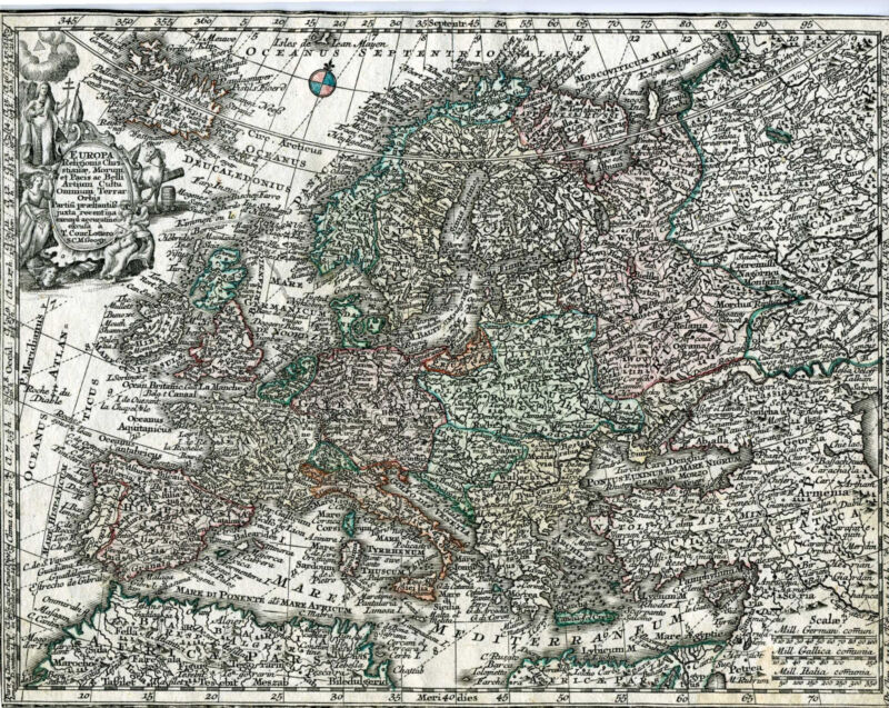 "1730 Europe Hand Colored ""Europa Religionis Christianae, Morum..."" M. Seutter"