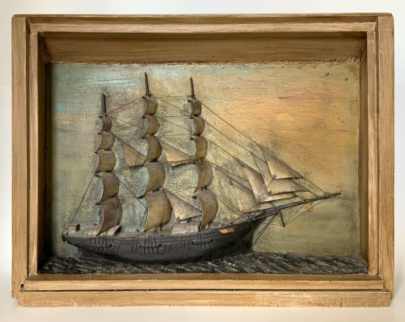 Antique Rare Early 1800s American Carved & Painted Ship Diorama