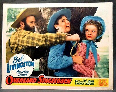 1942 Bob Livingston OVERLAND STAGECOACH full color movie COWBOY Lobby Card TM