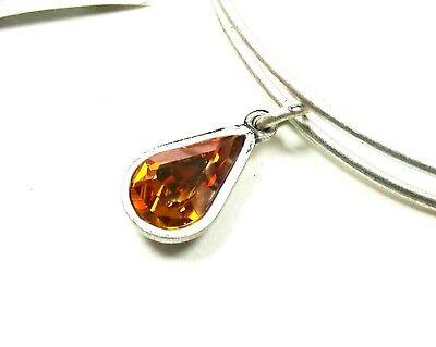 ALEX and ANI Rafaelian Silver Swarovski Crystal Topaz Bracelet with Charms