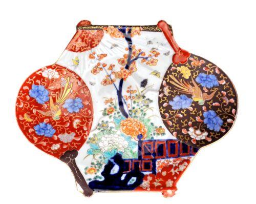 Unique Antique Japanese Imari Double Hand Fan-Shaped Large Plate
