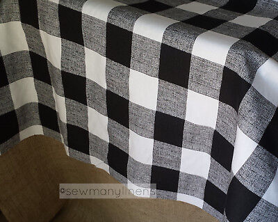 Black and White Plaid Tablecloth Buffalo Check Table Linens Farmhouse Country
