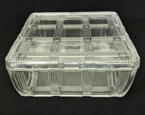 "Hazel Atlas Refrigerator Dish & Lid - LARGE 8-1/2"" Square - Criss Cross"