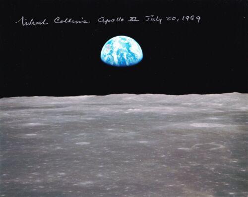 MICHAEL COLLINS APOLLO 11 -EARTHRISE- NASA HAND SIGNED 8 x 10 PHOTO W/COA MINT