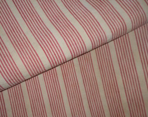 Antique Primitive Rustic French Farmhouse Ticking Fabric ~ Red Tan