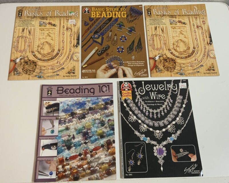 katies Basics of Beading & 101 & Jewelry Wire Steps To 5 Total Books Lot