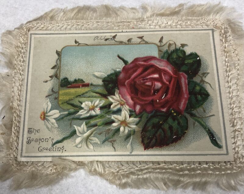Antique Vintage Victorian Dimensional Silk Fringe Double Roses Christmas Card
