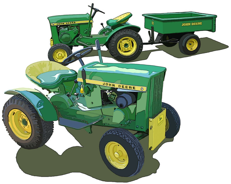 John Deere Model 110 lawn and garden tractor a Richard Browne canvas art print